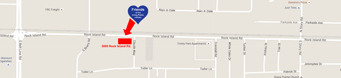 Map to Freinds of the Irving Public Library Book Sales Warehouse